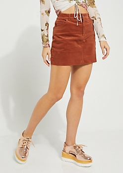 Brown Corduroy Mini Skirt