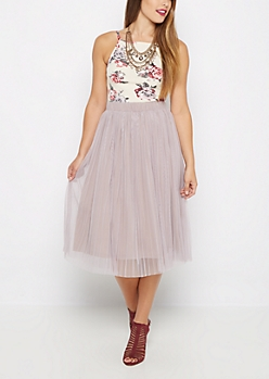 Lavender Tulle Pleated Skirt