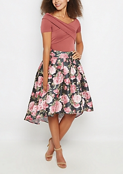Rose High Low Taffeta Skirt