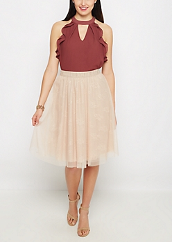 Rosy Tulle Midi Skirt