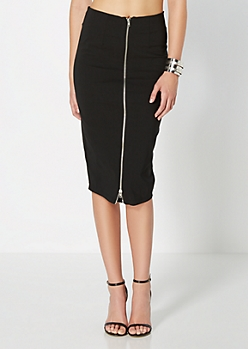 Zipped Pencil Midi Skirt