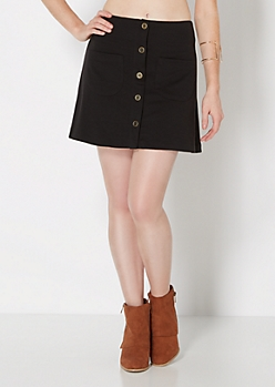 Black Button Down Mini Skirt