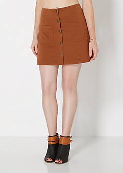 Cognac Button Down Mini Skirt