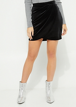Black Velvet Asymmetrical Wrap Mini Skirt