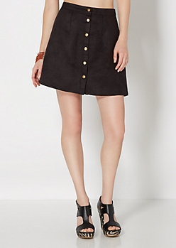 Black Vintage Buttoned Microsuede Skirt