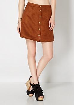Cognac Vintage Buttoned Microsuede Skirt