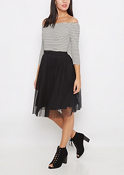 Black Pleated Mesh Midi Skirt