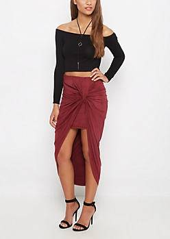 Burgundy Faux Suede Knotted Skirt