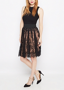 Black Rose Lace Smocked Skirt