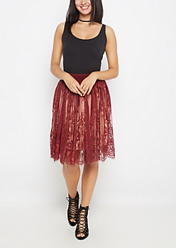 Burgundy Rose Lace Smocked Skirt