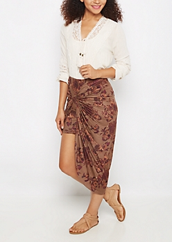 Light Brown Rosy Faux Suede Knotted Skirt