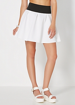 White Weekend Escape Skater Skirt