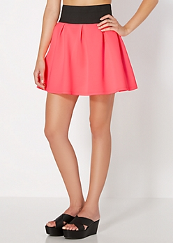 Neon Fuschia Weekend Escape Skater Skirt