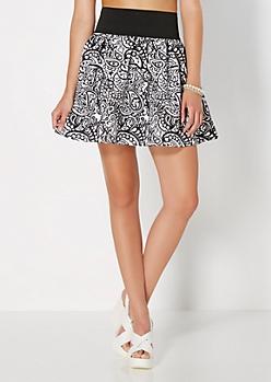 Paisley Boho Skater Skirt