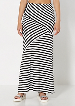 Layered Stripe Maxi Skirt