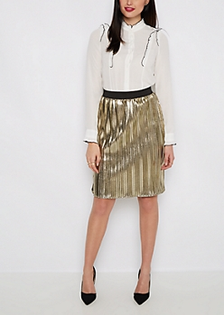 Golden Pleated Midi Skirt