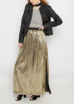 Golden Pleated Maxi Skirt