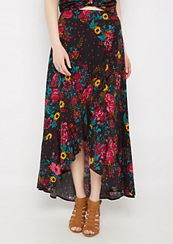 Floral Ruffled Wrap Maxi Skirt