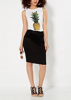 Bow Draped Midi Skirt