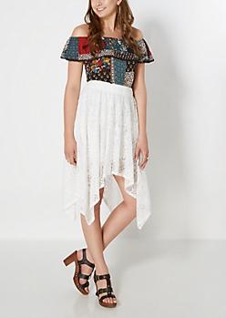 Lace Handkerchief Hem Skirt