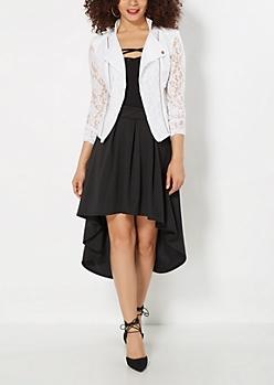 Pleated High-Low Midi Skirt