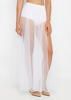 White Sheer Tulle Maxi Skirt