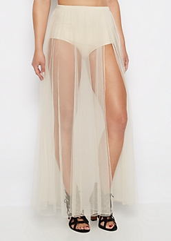 Nude Sheer Tulle Maxi Skirt