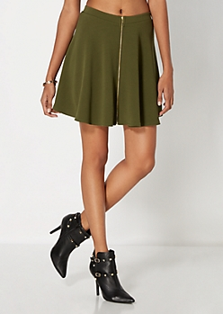 Green Zipped Mini Skater Skirt