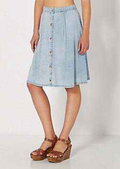 Button Down Chambray Skater Skirt