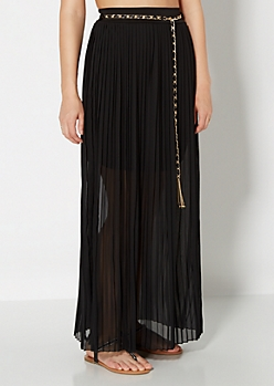 Pleated Semi-Sheer Maxi Skirt