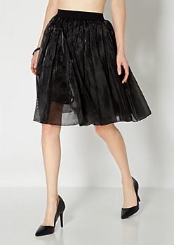 Black Shimmering Gauze Skirt