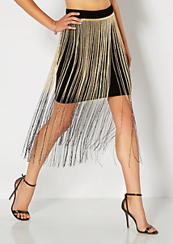 Ombre Fringed Mini Skirt