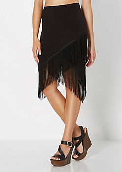 Retro Fringed Asymmetric Skirt