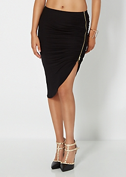 Ruched Zip Seam Skirt