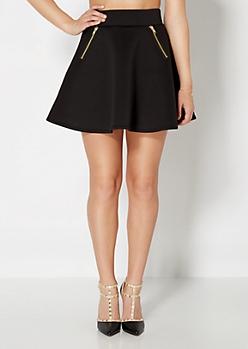 Zipped Knit Skater Skirt