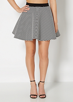 Optical Illusion Striped Skater Skirt