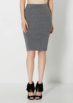 Marled Gray Knit Midi Skirt