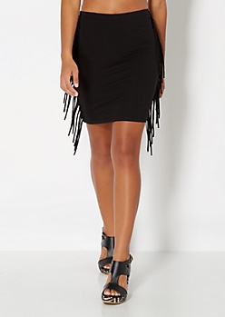 Black Raw Cut Fringe Bodycon Skirt