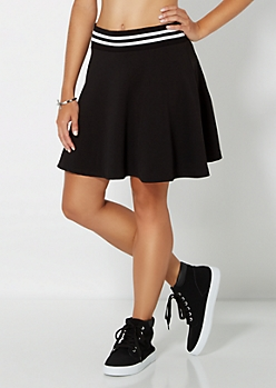Black Athletic Knit Skater Skirt