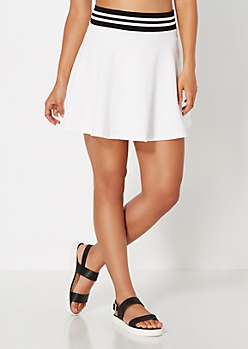 White Athletic Knit Skater Skirt