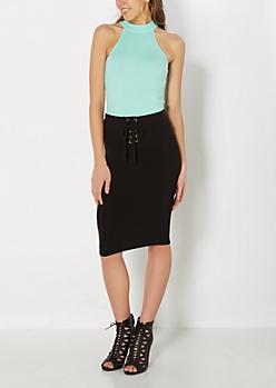 Lace-Up Knit Midi Skirt