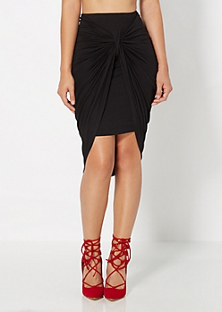 Knotted Front Midi Skirt