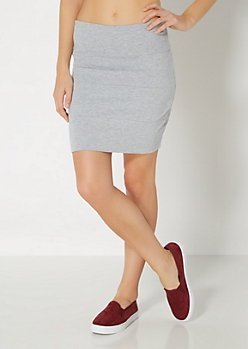 Gray Bandage Mini Skirt