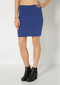 Blue Bandage Mini Skirt