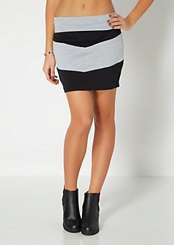 Black Colorblock Chevron Mini Skirt