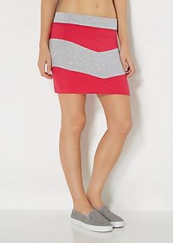 Pink Colorblock Chevron Mini Skirt