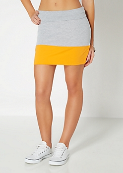 Orange Colorblock Mini Skirt