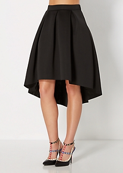 Black Scuba Double-Knit Skirt