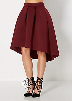 Burgundy Scuba Double-Knit Skirt