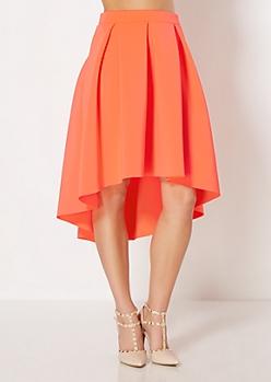 Neon Orange Scuba Double-Knit Skirt